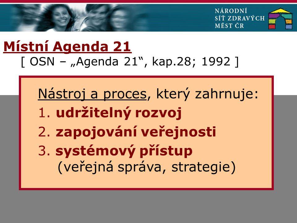 """Místní Agenda 21 [ OSN – """"Agenda 21 , kap.28; 1992 ] Nástroj a proces, který zahrnuje: 1."""