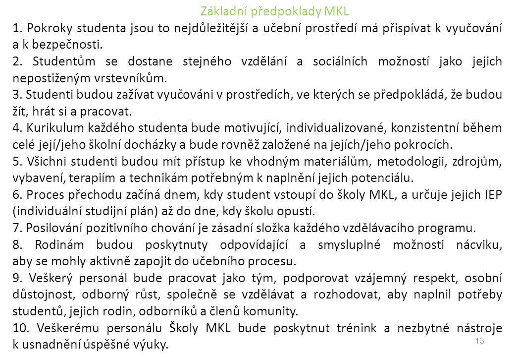 Základní předpoklady MKL 1. Pokroky studenta jsou to nejdůležitější a učební prostředí má přispívat k vyučování a k bezpečnosti. 2. Studentům se dosta