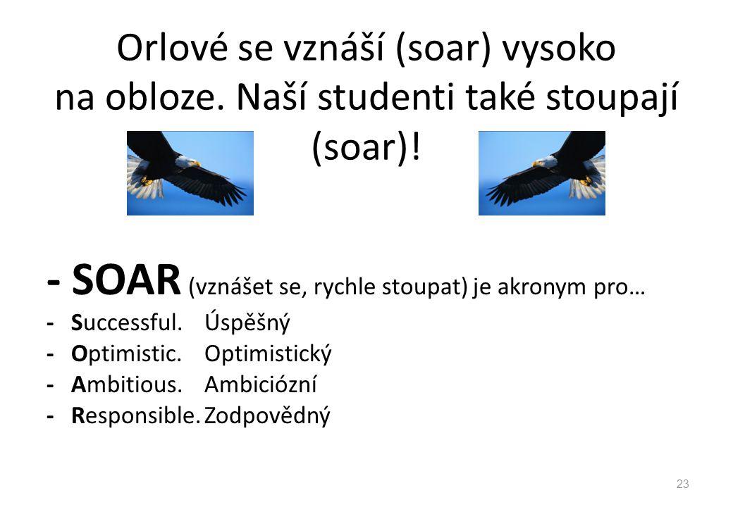 Orlové se vznáší (soar) vysoko na obloze. Naší studenti také stoupají (soar)! - SOAR (vznášet se, rychle stoupat) je akronym pro… - Successful. Úspěšn