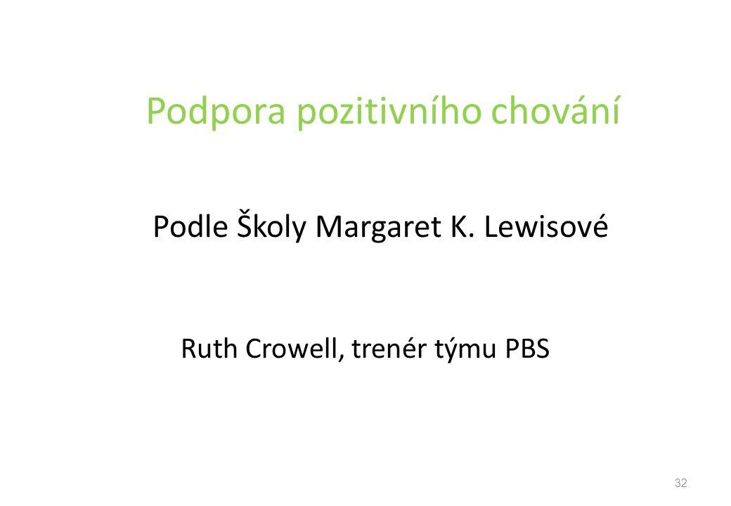 Podpora pozitivního chování Podle Školy Margaret K. Lewisové Ruth Crowell, trenér týmu PBS 32