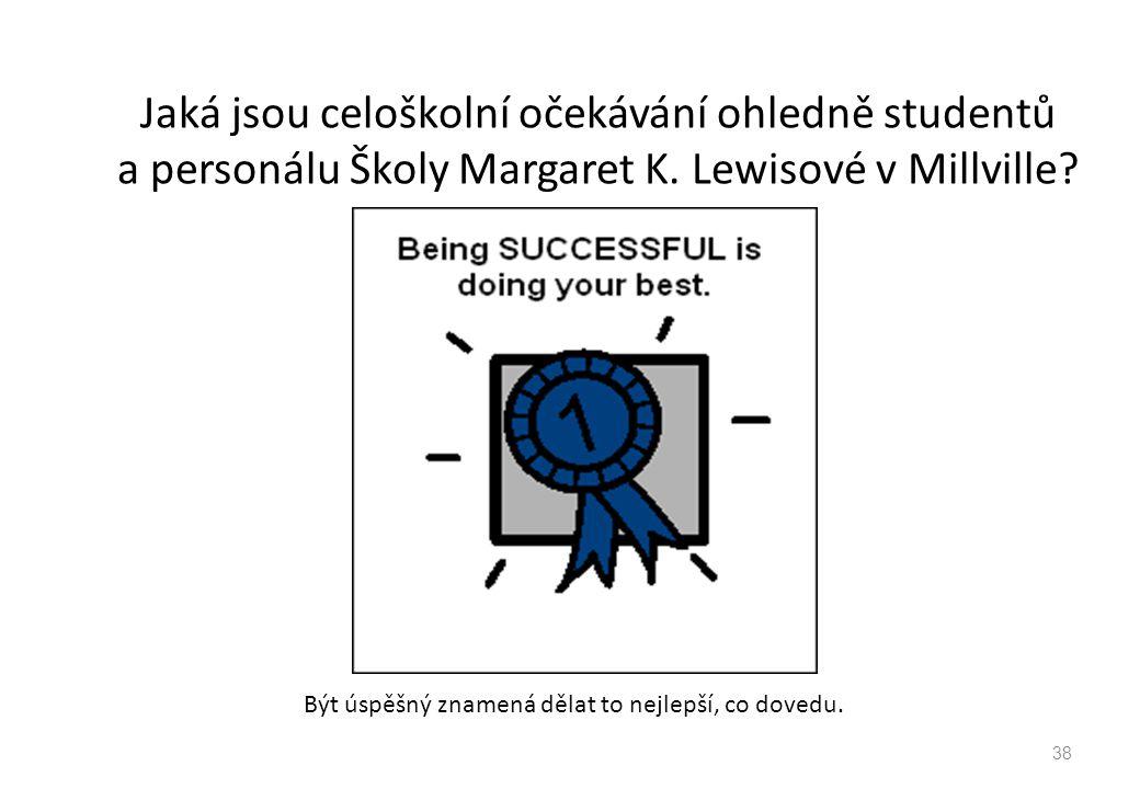 Jaká jsou celoškolní očekávání ohledně studentů a personálu Školy Margaret K. Lewisové v Millville? Být úspěšný znamená dělat to nejlepší, co dovedu.