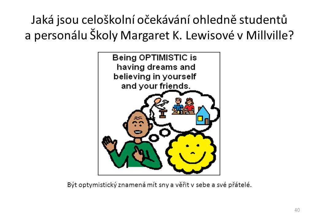 Jaká jsou celoškolní očekávání ohledně studentů a personálu Školy Margaret K. Lewisové v Millville? Být optymistický znamená mít sny a věřit v sebe a