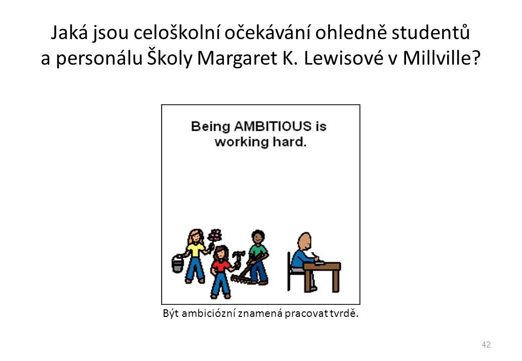 Jaká jsou celoškolní očekávání ohledně studentů a personálu Školy Margaret K. Lewisové v Millville? Být ambiciózní znamená pracovat tvrdě. 42