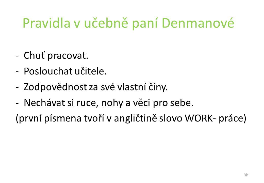 Pravidla v učebně paní Denmanové - Chuť pracovat.- Poslouchat učitele.