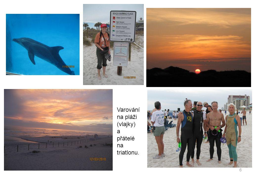 Varování na pláži (vlajky) a přátelé na triatlonu. 6