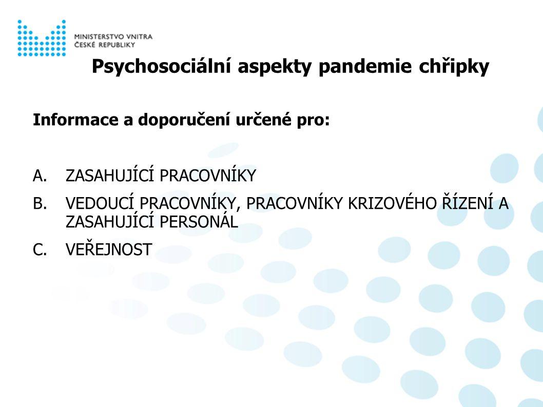 Psychosociální aspekty pandemie chřipky Informace a doporučení určené pro: A.ZASAHUJÍCÍ PRACOVNÍKY B.VEDOUCÍ PRACOVNÍKY, PRACOVNÍKY KRIZOVÉHO ŘÍZENÍ A ZASAHUJÍCÍ PERSONÁL C.VEŘEJNOST