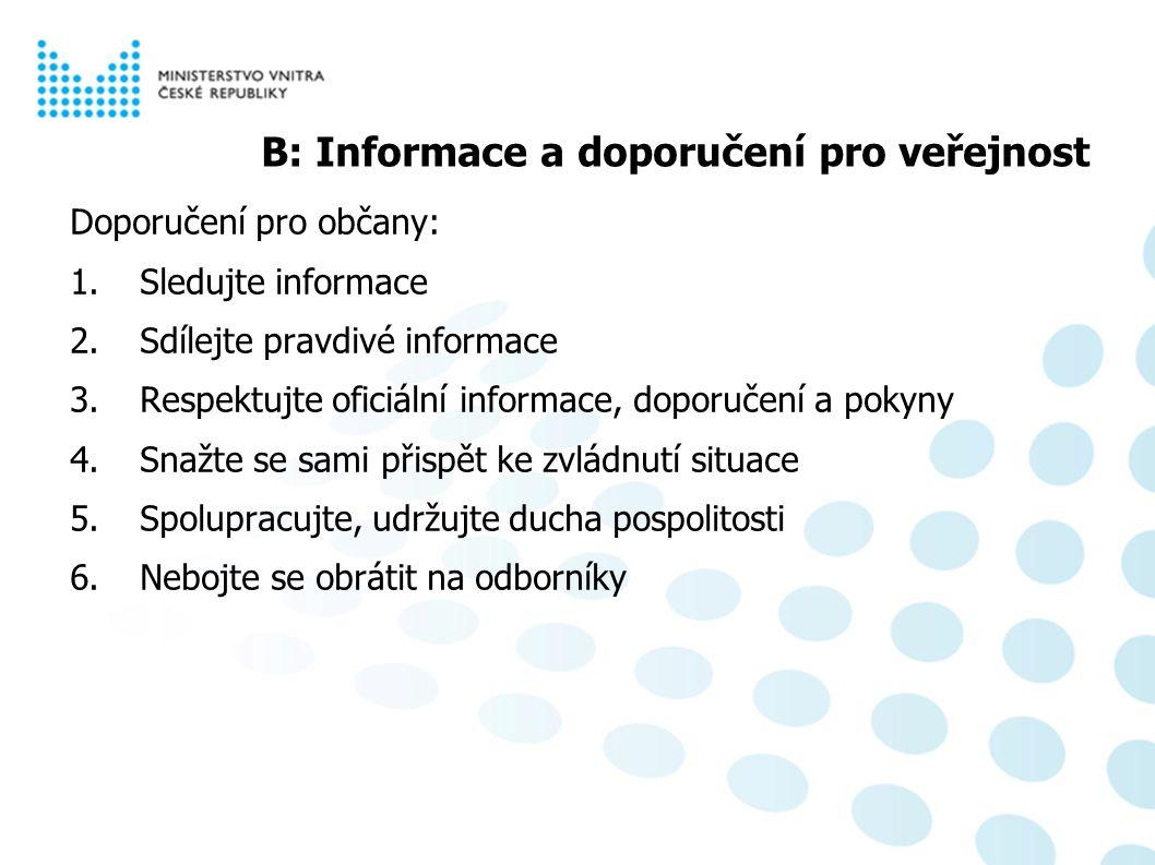 Psychosociální aspekty pandemie chřipky B: Informace a doporučení pro veřejnost Doporučení pro občany: 1.Sledujte informace 2.Sdílejte pravdivé informace 3.Respektujte oficiální informace, doporučení a pokyny 4.Snažte se sami přispět ke zvládnutí situace 5.Spolupracujte, udržujte ducha pospolitosti 6.Nebojte se obrátit na odborníky