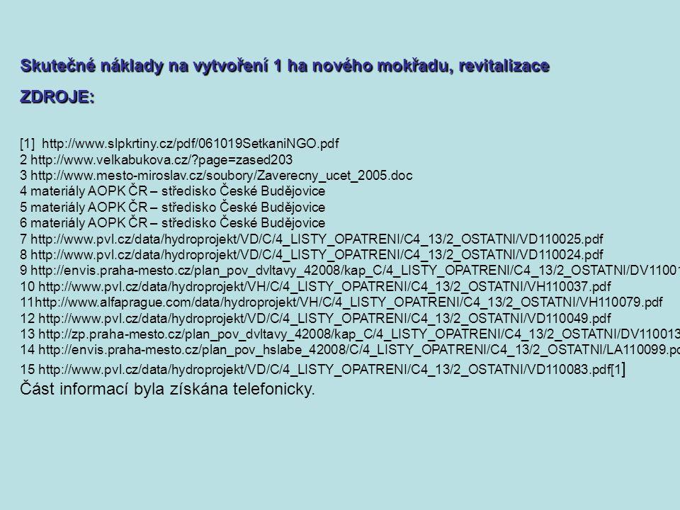 [1] http://www.slpkrtiny.cz/pdf/061019SetkaniNGO.pdf 2 http://www.velkabukova.cz/ page=zased203 3 http://www.mesto-miroslav.cz/soubory/Zaverecny_ucet_2005.doc 4 materiály AOPK ČR – středisko České Budějovice 5 materiály AOPK ČR – středisko České Budějovice 6 materiály AOPK ČR – středisko České Budějovice 7 http://www.pvl.cz/data/hydroprojekt/VD/C/4_LISTY_OPATRENI/C4_13/2_OSTATNI/VD110025.pdf 8 http://www.pvl.cz/data/hydroprojekt/VD/C/4_LISTY_OPATRENI/C4_13/2_OSTATNI/VD110024.pdf 9 http://envis.praha-mesto.cz/plan_pov_dvltavy_42008/kap_C/4_LISTY_OPATRENI/C4_13/2_OSTATNI/DV110015.pdf 10 http://www.pvl.cz/data/hydroprojekt/VH/C/4_LISTY_OPATRENI/C4_13/2_OSTATNI/VH110037.pdf 11http://www.alfaprague.com/data/hydroprojekt/VH/C/4_LISTY_OPATRENI/C4_13/2_OSTATNI/VH110079.pdf 12 http://www.pvl.cz/data/hydroprojekt/VD/C/4_LISTY_OPATRENI/C4_13/2_OSTATNI/VD110049.pdf 13 http://zp.praha-mesto.cz/plan_pov_dvltavy_42008/kap_C/4_LISTY_OPATRENI/C4_13/2_OSTATNI/DV110013.pdf 14 http://envis.praha-mesto.cz/plan_pov_hslabe_42008/C/4_LISTY_OPATRENI/C4_13/2_OSTATNI/LA110099.pdf 15 http://www.pvl.cz/data/hydroprojekt/VD/C/4_LISTY_OPATRENI/C4_13/2_OSTATNI/VD110083.pdf[1 ] Část informací byla získána telefonicky.