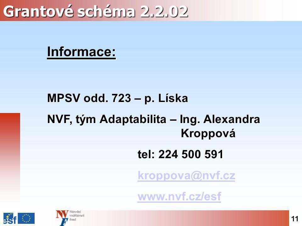 11 Grantové schéma 2.2.02 Informace: MPSV odd. 723 – p. Líska NVF, tým Adaptabilita – Ing. Alexandra Kroppová tel: 224 500 591 kroppova@nvf.cz kroppov