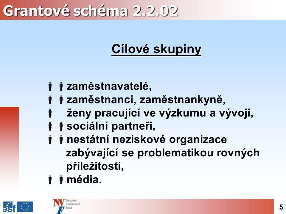 5 Grantové schéma 2.2.02 Cílové skupiny  zaměstnavatelé,  zaměstnanci, zaměstnankyně,  ženy pracující ve výzkumu a vývoji,  sociální partneři,