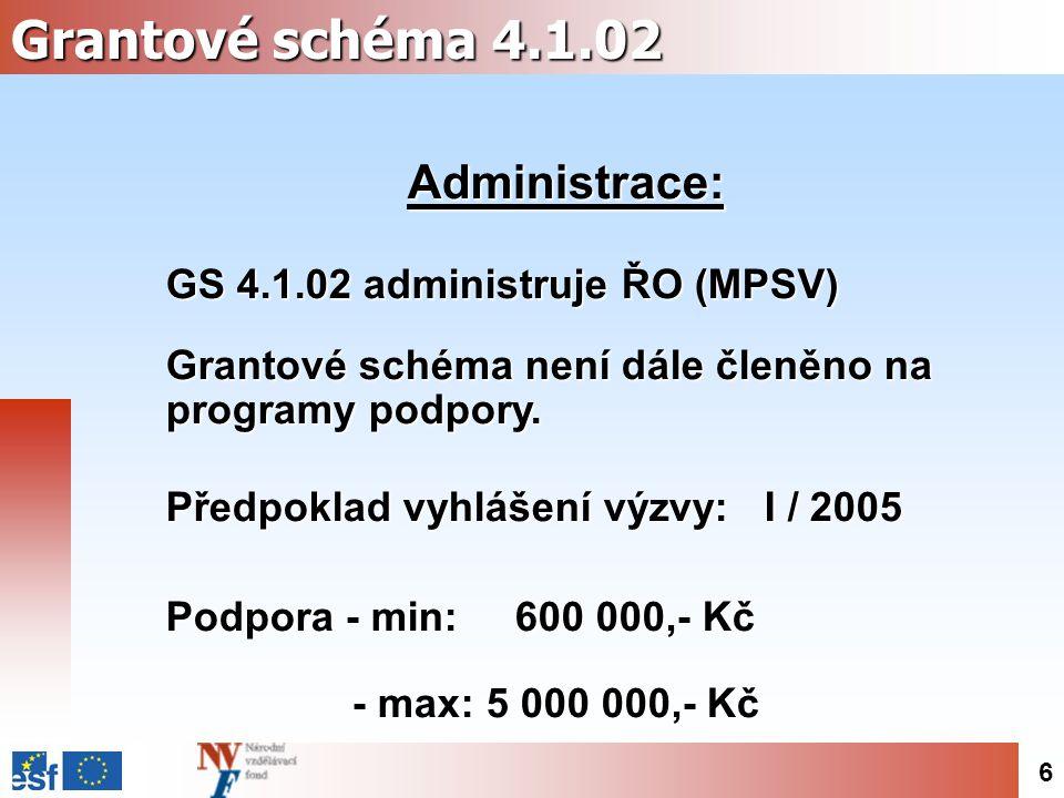 6 Grantové schéma 4.1.02 Administrace: GS 4.1.02 administruje ŘO (MPSV) Grantové schéma není dále členěno na programy podpory.
