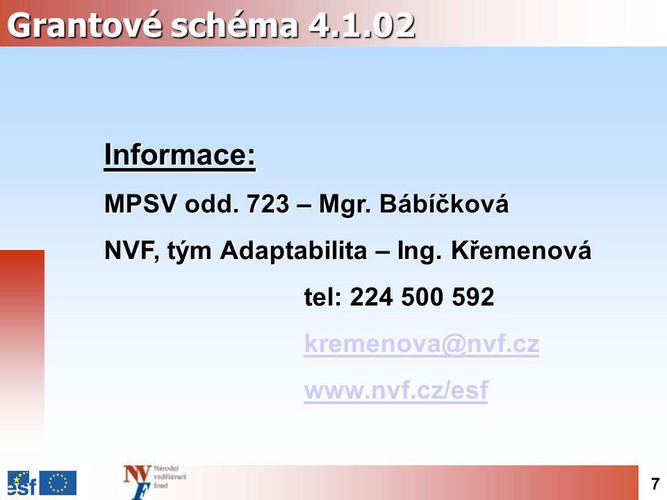 7 Grantové schéma 4.1.02 Informace: MPSV odd. 723 – Mgr.