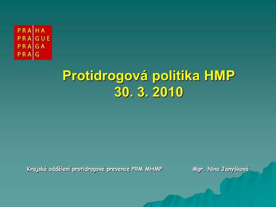 Strategie protidrogové politiky HMP 2008 až 2012 KOORDINACE Financování Primární prevence Léčba a resocializace Snižování rizik Snižování dostupnosti Snižování poptávky Harm reduction Potlačování nabídky Výzkum, informace a evaluace, zahraniční spolupráce