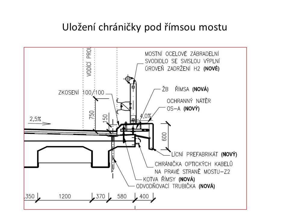 Uložení chráničky pod římsou mostu