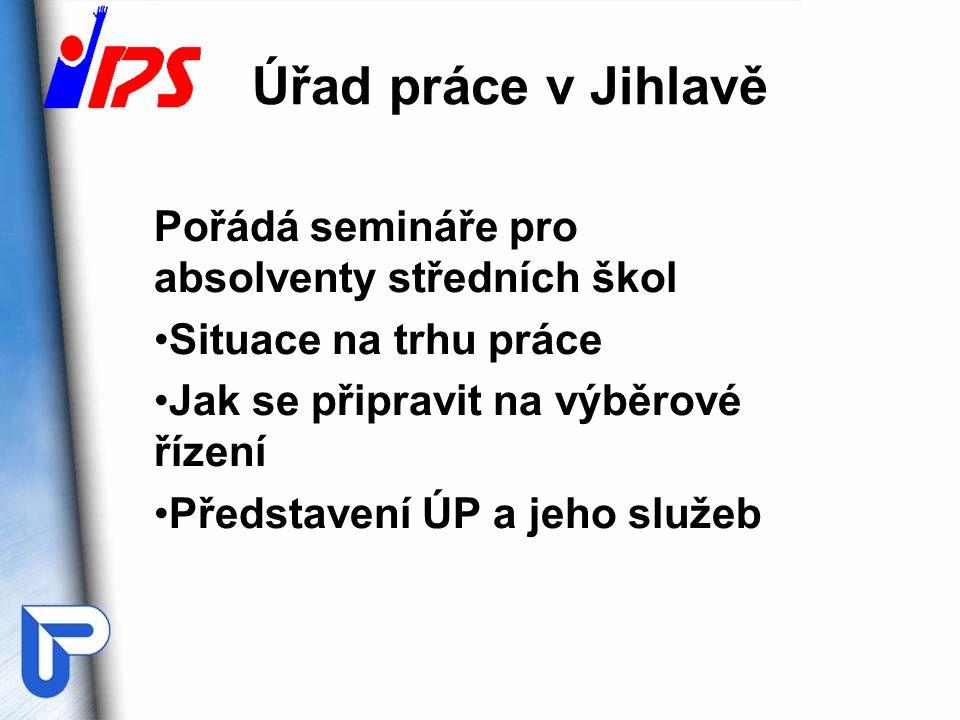 Úřad práce v Jihlavě Pořádá semináře pro absolventy středních škol Situace na trhu práce Jak se připravit na výběrové řízení Představení ÚP a jeho služeb