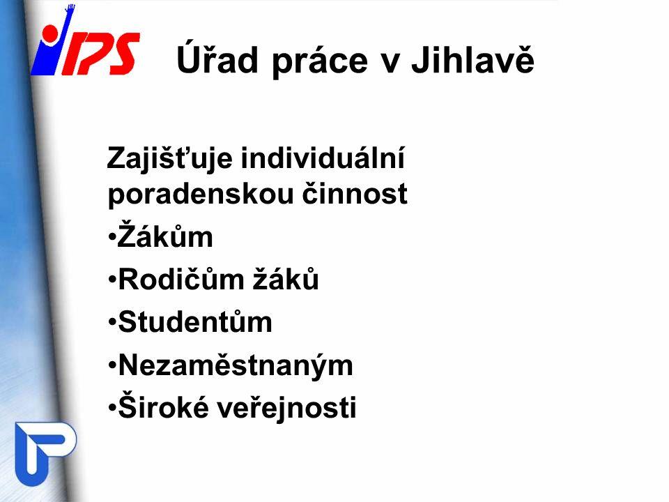 Úřad práce v Jihlavě Zajišťuje individuální poradenskou činnost Žákům Rodičům žáků Studentům Nezaměstnaným Široké veřejnosti