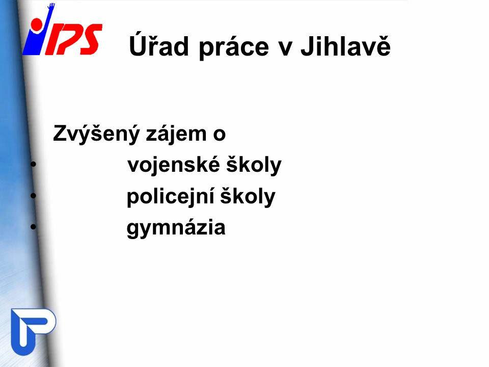 Úřad práce v Jihlavě Zvýšený zájem o vojenské školy policejní školy gymnázia