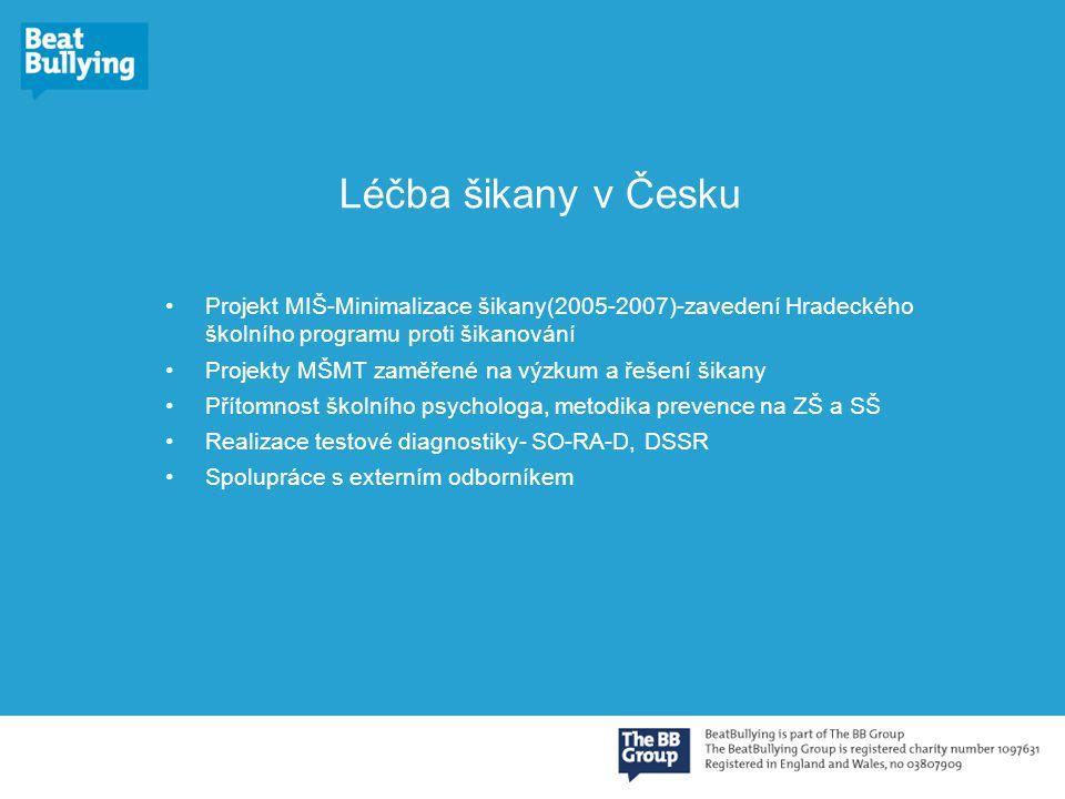 Léčba šikany v Česku Projekt MIŠ-Minimalizace šikany(2005-2007)-zavedení Hradeckého školního programu proti šikanování Projekty MŠMT zaměřené na výzkum a řešení šikany Přítomnost školního psychologa, metodika prevence na ZŠ a SŠ Realizace testové diagnostiky- SO-RA-D, DSSR Spolupráce s externím odborníkem