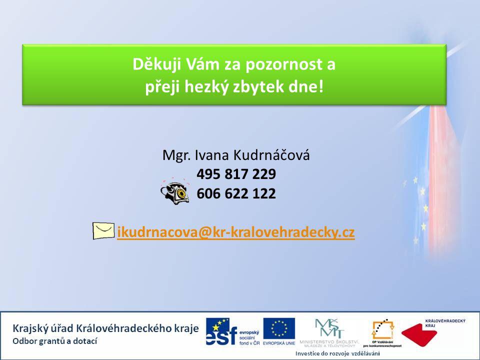 Mgr. Ivana Kudrnáčová 495 817 229 606 622 122 ikudrnacova@kr-kralovehradecky.cz Děkuji Vám za pozornost a přeji hezký zbytek dne!