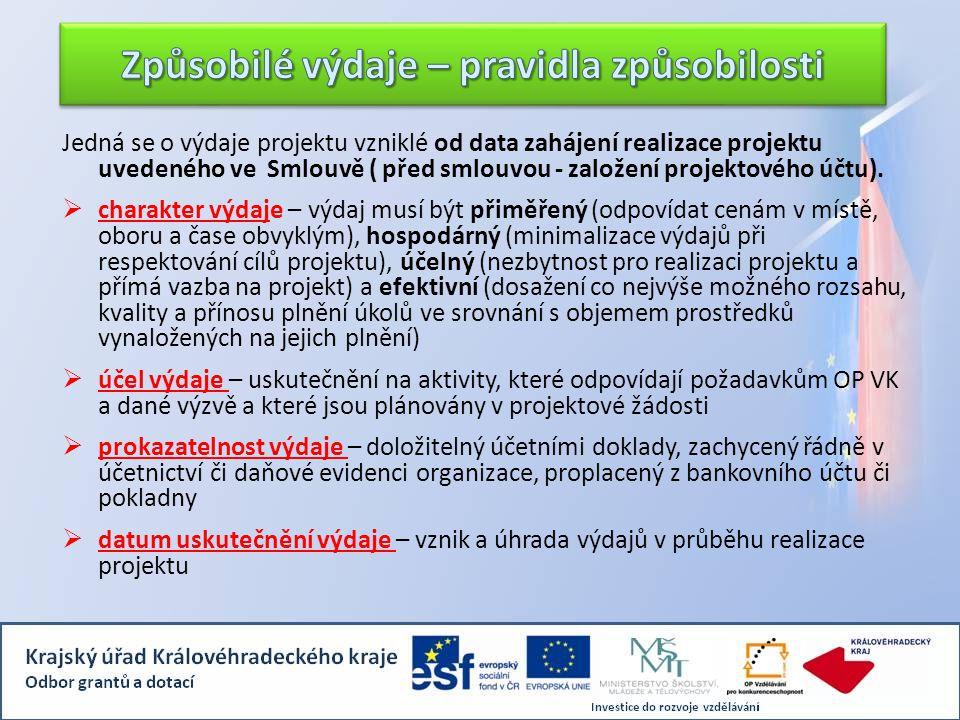 Jedná se o výdaje projektu vzniklé od data zahájení realizace projektu uvedeného ve Smlouvě ( před smlouvou - založení projektového účtu).  charakter