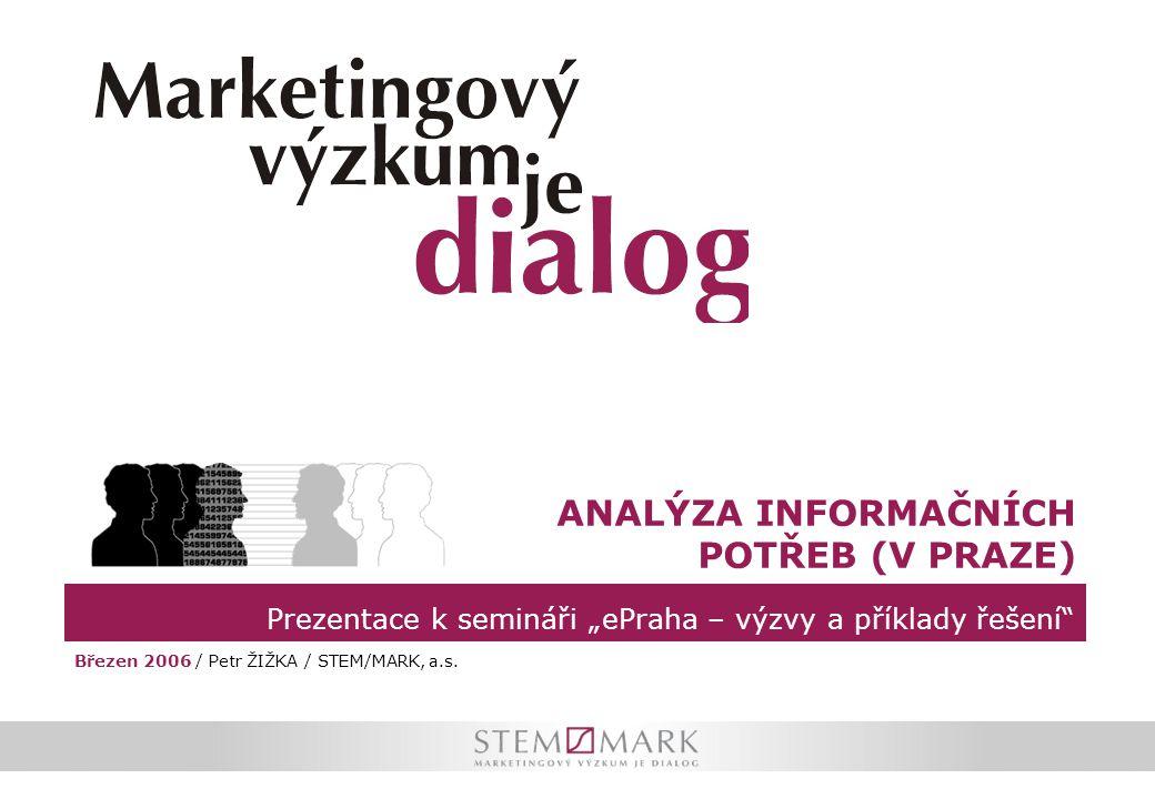 """Prezentace k semináři """"ePraha – výzvy a příklady řešení"""" ANALÝZA INFORMAČNÍCH POTŘEB (V PRAZE) Březen 2006 / Petr ŽIŽKA / STEM/MARK, a.s."""