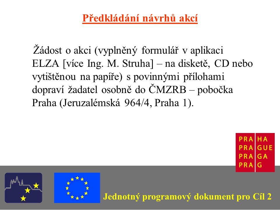 Jednotný programový dokument pro Cíl 2 Předkládání návrhů akcí Žádost o akci (vyplněný formulář v aplikaci ELZA [více Ing.
