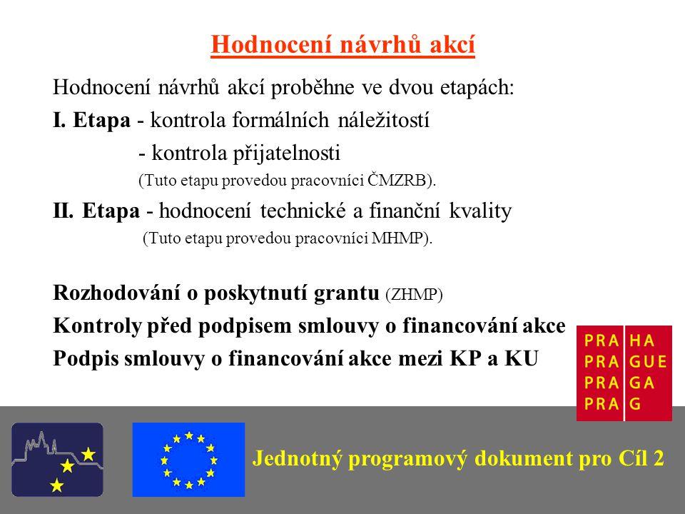 Jednotný programový dokument pro Cíl 2 Hodnocení návrhů akcí Hodnocení návrhů akcí proběhne ve dvou etapách: I.