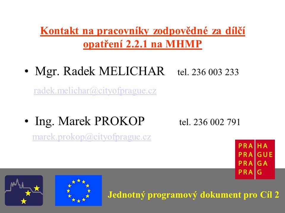 Kontakt na pracovníky zodpovědné za dílčí opatření 2.2.1 na MHMP Mgr.