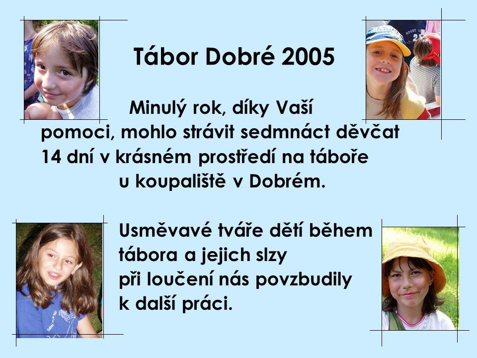 Tábor Dobré 2005 Minulý rok, díky Vaší pomoci, mohlo strávit sedmnáct děvčat 14 dní v krásném prostředí na táboře u koupaliště v Dobrém. Usměvavé tvář