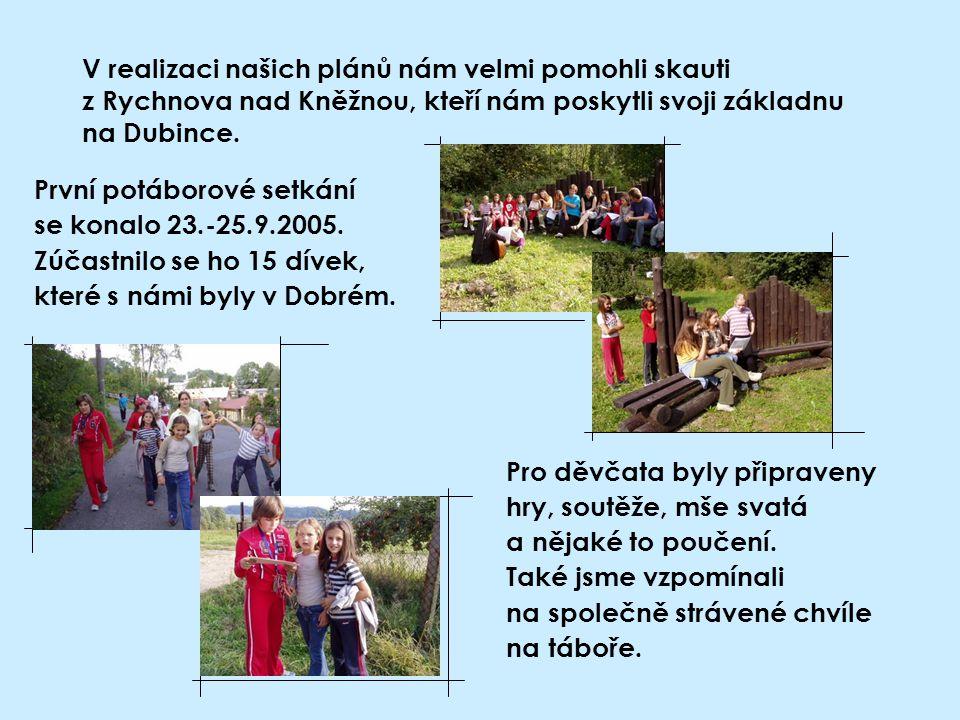 V realizaci našich plánů nám velmi pomohli skauti z Rychnova nad Kněžnou, kteří nám poskytli svoji základnu na Dubince.