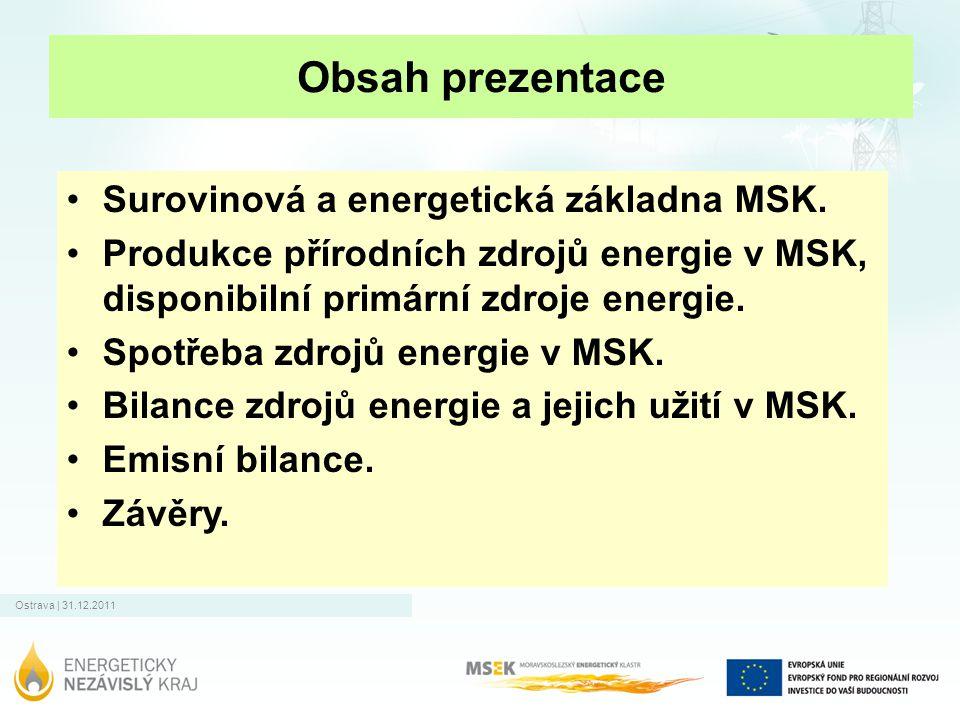 Ostrava | 31.12.2011 Obsah prezentace Surovinová a energetická základna MSK. Produkce přírodních zdrojů energie v MSK, disponibilní primární zdroje en