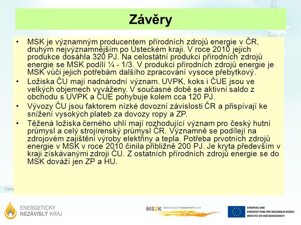Ostrava | 31.12.2011 Závěry MSK je významným producentem přírodních zdrojů energie v ČR, druhým nejvýznamnějším po Ústeckém kraji. V roce 2010 jejich