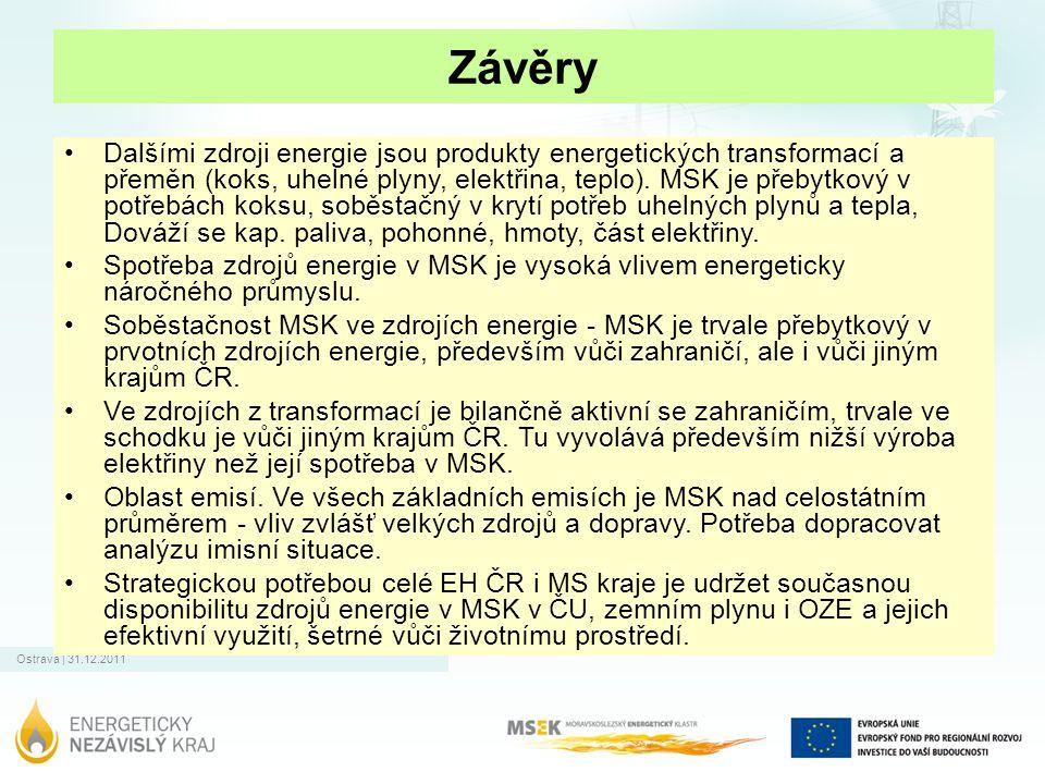Ostrava | 31.12.2011 Závěry Dalšími zdroji energie jsou produkty energetických transformací a přeměn (koks, uhelné plyny, elektřina, teplo). MSK je př