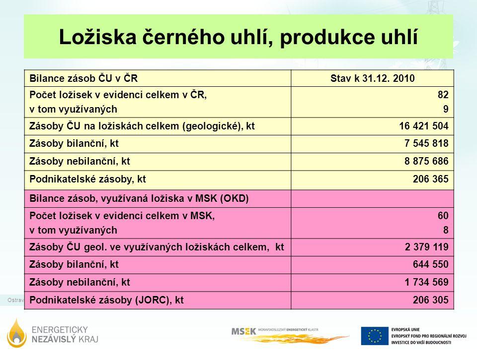 Ostrava | 31.12.2011 Ložiska černého uhlí, produkce uhlí Bilance zásob ČU v ČRStav k 31.12. 2010 Počet ložisek v evidenci celkem v ČR, v tom využívaný