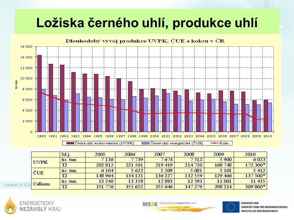 Ostrava   31.12.2011 Ložiska černého uhlí, produkce uhlí Na území ČR se nalézá velké množství geologických zásob ČU, stavy vytěžitelných zásob jsou ale nízké, cca 1,2% zásob geologických.