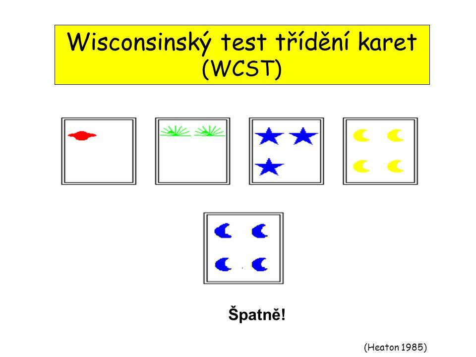 (Heaton 1985) Wisconsinský test třídění karet (WCST) Přiřaď dolní kartu k jedné ze 4 horních karetSprávně !Špatně!