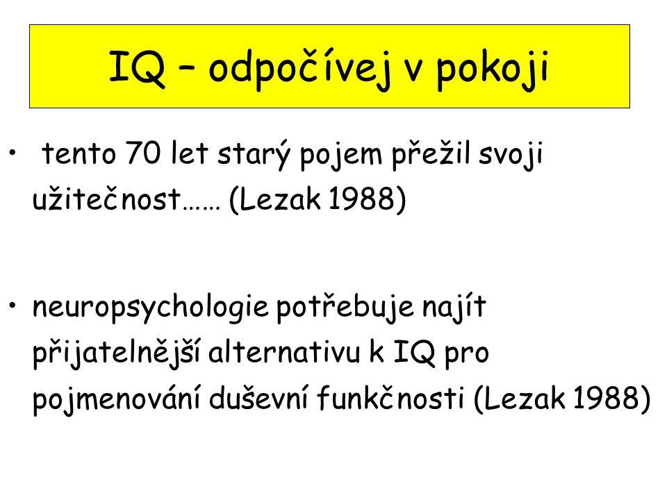 Inteligence – orientačně vzdělání, použitý slovník, znalosti Inteligence - psych.