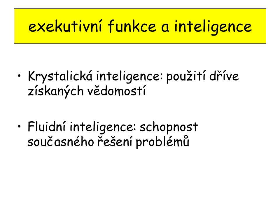 exekutivní funkce a inteligence Krystalická inteligence: použití dříve získaných vědomostí Fluidní inteligence: schopnost současného řešení problémů