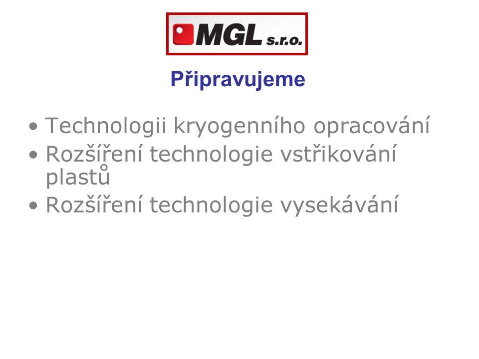 Připravujeme Technologii kryogenního opracování Rozšíření technologie vstřikování plastů Rozšíření technologie vysekávání