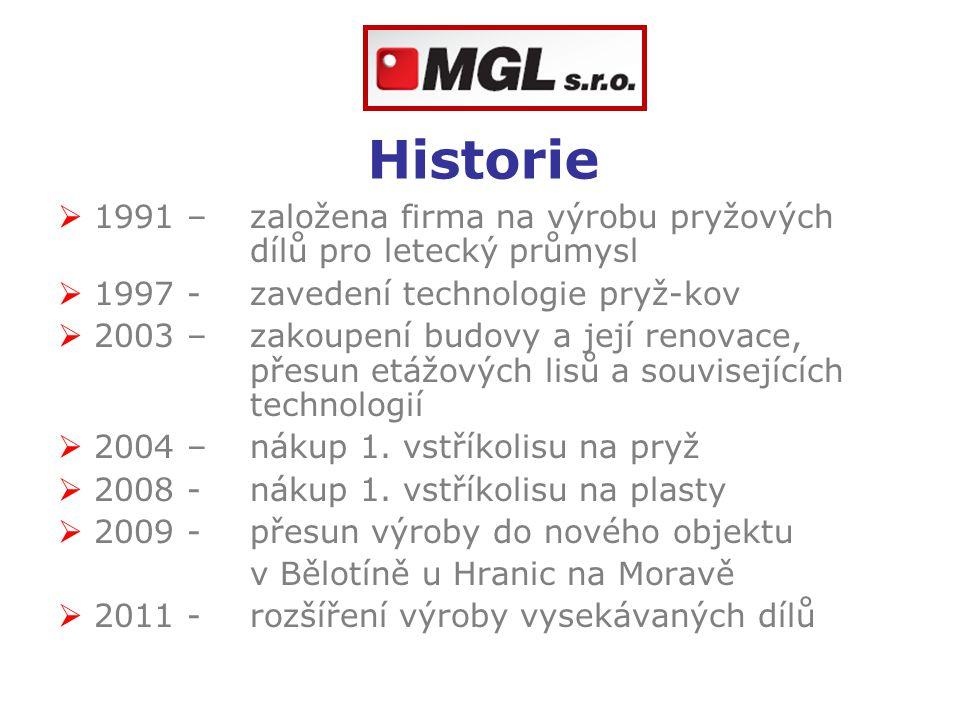 Historie  1991 – založena firma na výrobu pryžových dílů pro letecký průmysl  1997 -zavedení technologie pryž-kov  2003 – zakoupení budovy a její r