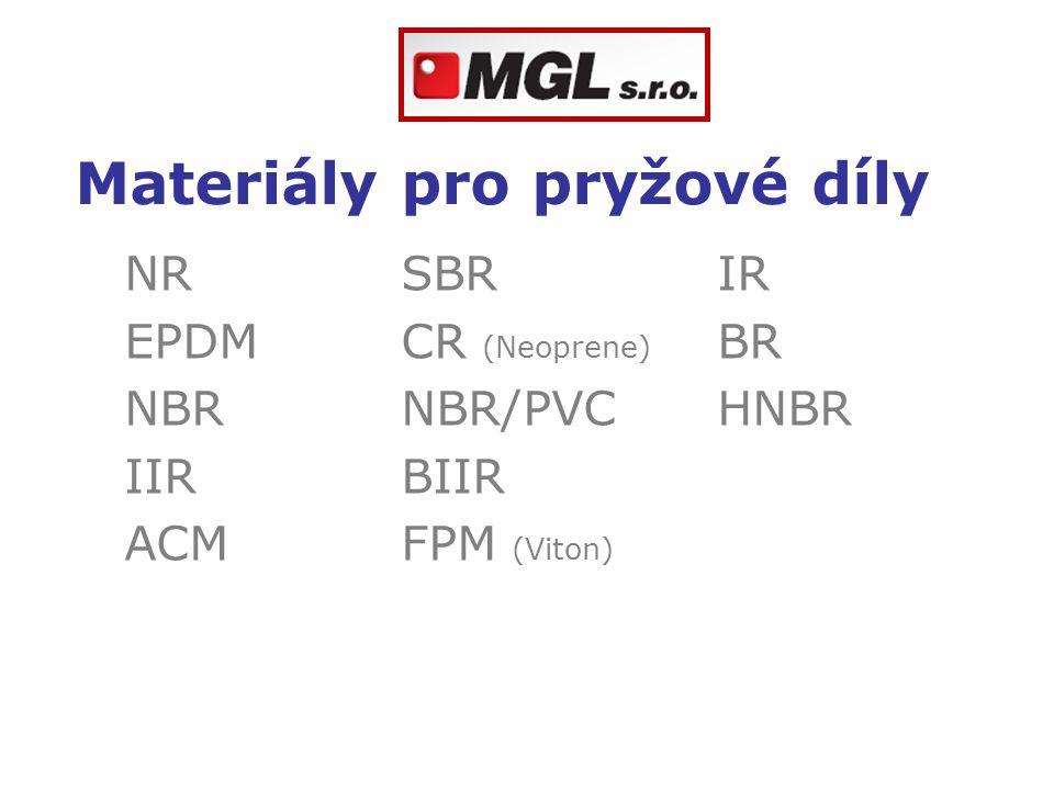Materiály pro pryžové díly NRSBRIR EPDMCR (Neoprene) BR NBR NBR/PVCHNBR IIRBIIR ACMFPM (Viton)