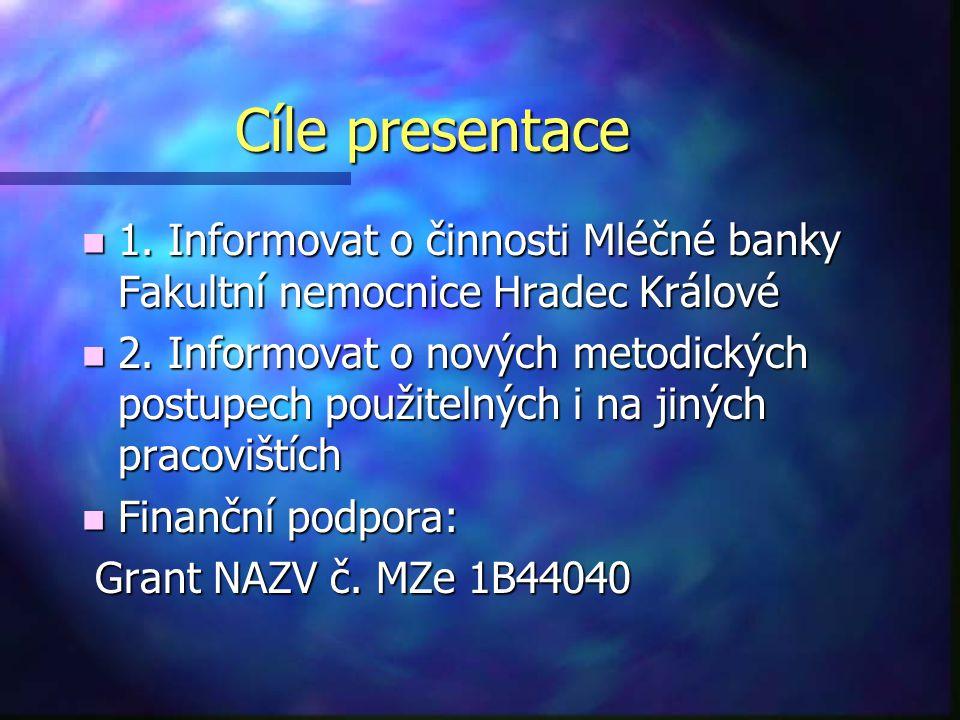 Cíle presentace n 1. Informovat o činnosti Mléčné banky Fakultní nemocnice Hradec Králové n 2. Informovat o nových metodických postupech použitelných
