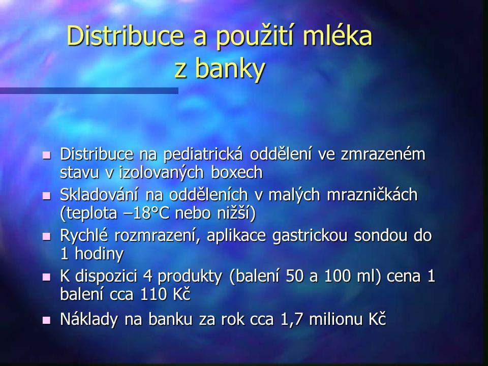 Distribuce a použití mléka z banky n Distribuce na pediatrická oddělení ve zmrazeném stavu v izolovaných boxech n Skladování na odděleních v malých mr