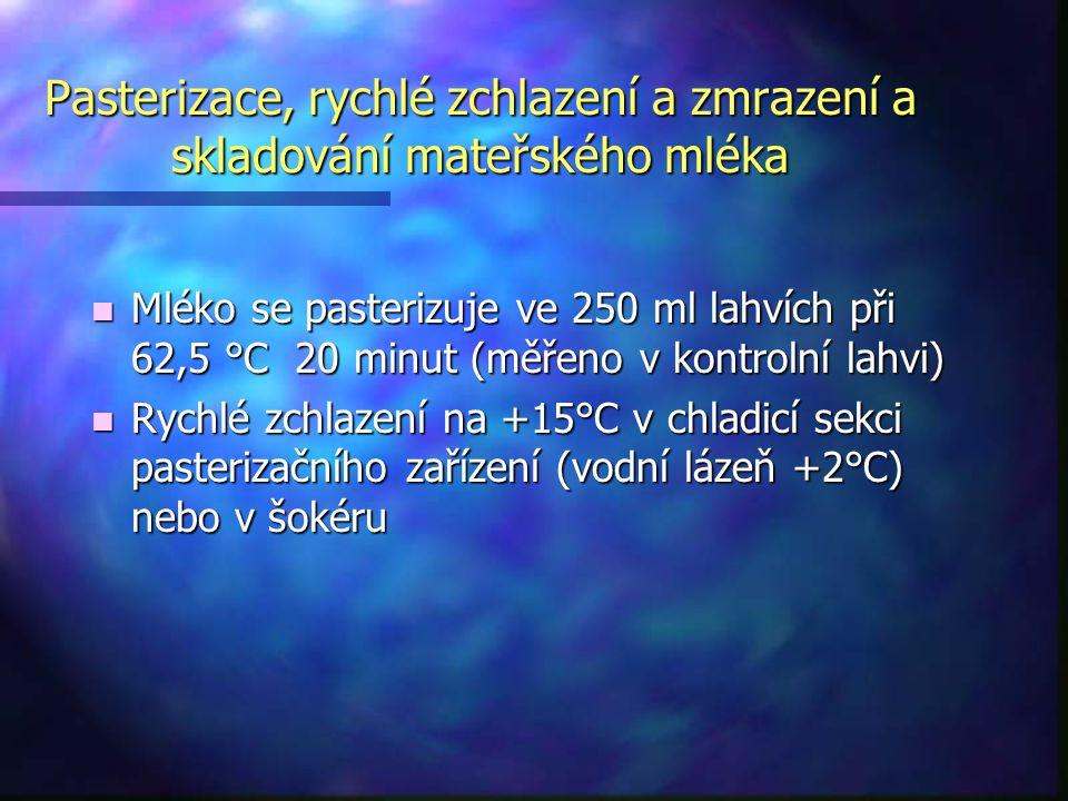 Pasterizace, rychlé zchlazení a zmrazení a skladování mateřského mléka n Mléko se pasterizuje ve 250 ml lahvích při 62,5 °C 20 minut (měřeno v kontrol