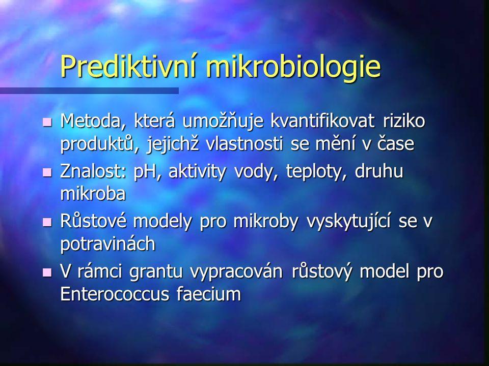 Prediktivní mikrobiologie n Metoda, která umožňuje kvantifikovat riziko produktů, jejichž vlastnosti se mění v čase n Znalost: pH, aktivity vody, tepl