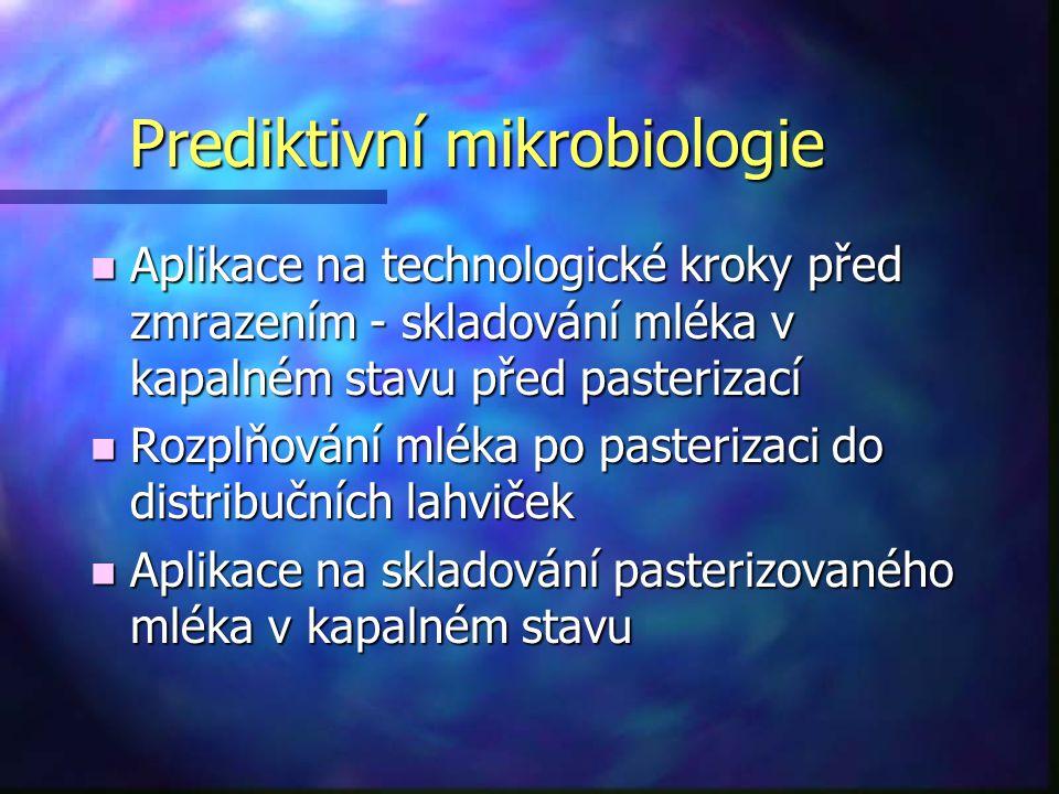 Prediktivní mikrobiologie n Aplikace na technologické kroky před zmrazením - skladování mléka v kapalném stavu před pasterizací n Rozplňování mléka po