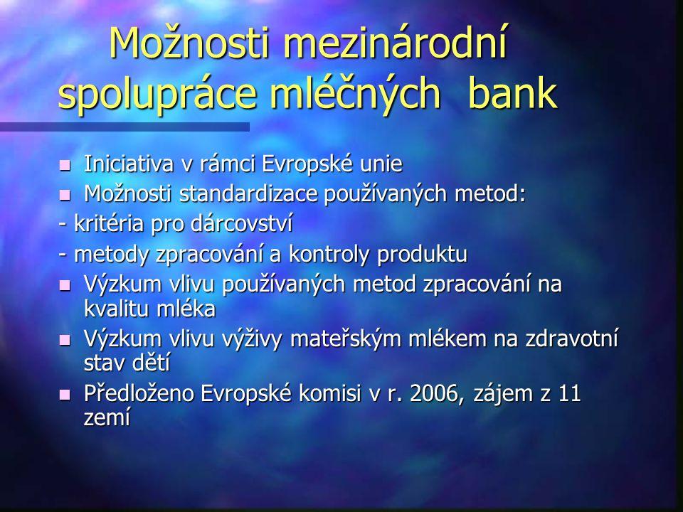 Možnosti mezinárodní spolupráce mléčných bank n Iniciativa v rámci Evropské unie n Možnosti standardizace používaných metod: - kritéria pro dárcovství