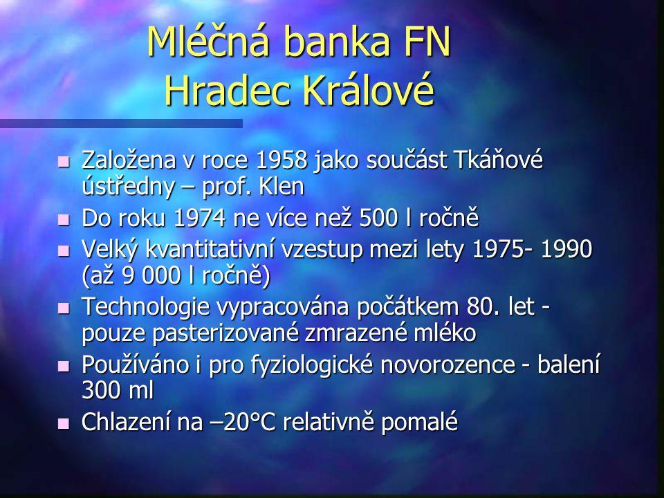 Mléčná banka FN Hradec Králové n Založena v roce 1958 jako součást Tkáňové ústředny – prof. Klen n Do roku 1974 ne více než 500 l ročně n Velký kvanti