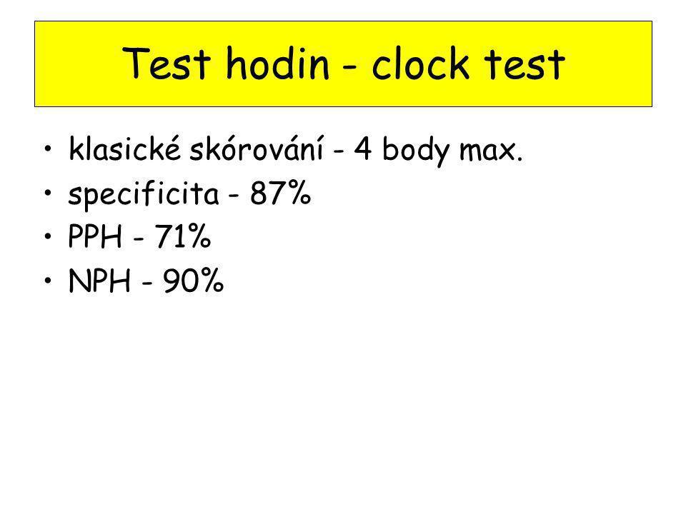 Test hodin - clock test klasické skórování - 4 body max. specificita - 87% PPH - 71% NPH - 90%