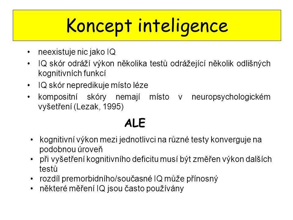 Koncept inteligence neexistuje nic jako IQ IQ skór odráží výkon několika testů odrážející několik odlišných kognitivních funkcí IQ skór nepredikuje mí